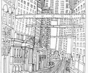 black and white, city, and draw image