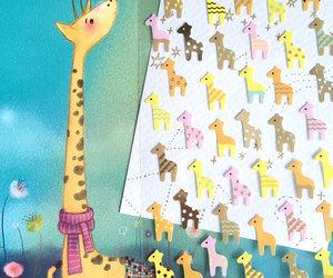 giraffe, zoo animal, and rainbow animal image