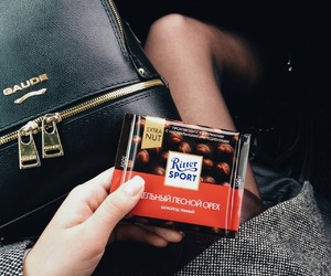 bag, ritter sport, and chocolate image