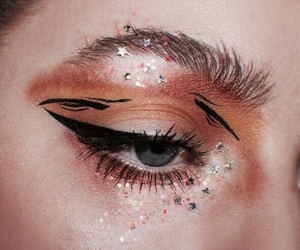 makeup, orange, and eye image