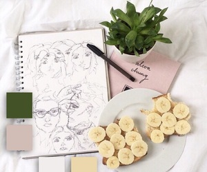 pastel, banana, and art image