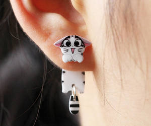 cat, earrings, and etsy image