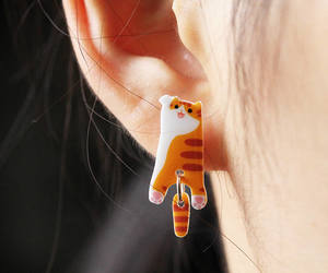 cat, animal earrings, and cat lover gift image