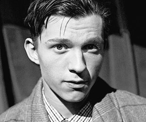 tom holland, actor, and b&w image