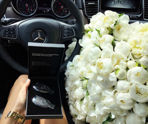 flowers, mercedes, and car image