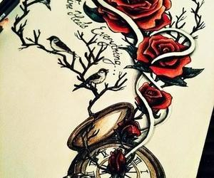 rose, tattoo, and drawing image