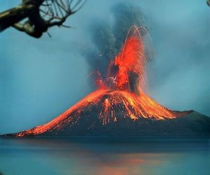 eruption, lava, and red image