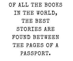 book, passport, and quotes image