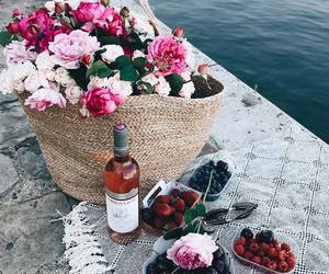 flowers, picnic, and strawberry image