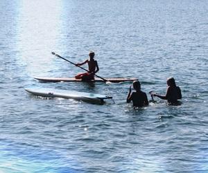 girls, lake, and outdoors image