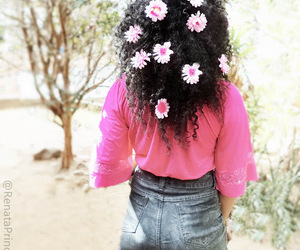 beauty, curly hair, and flowers image