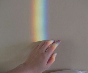 hand, pale, and rainbow image