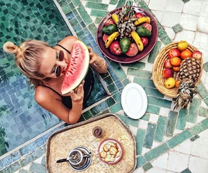 summer, fruit, and girl image