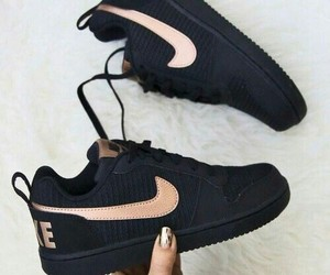 black, nike, and gold image