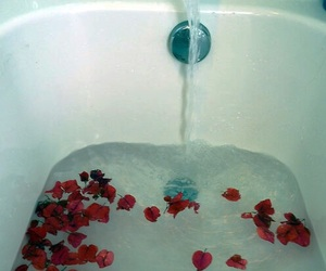 water, bath, and rose image