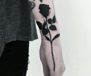 dark, roses, and tattoo image