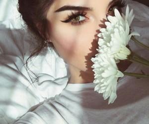 girl, flowers, and makeup image