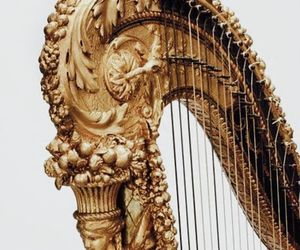 gold, aesthetic, and harp image
