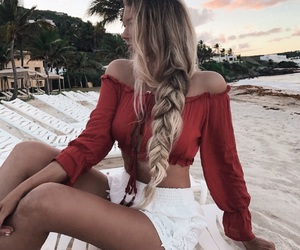 fashion, beach, and hair image