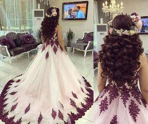 dress, flowers, and hair image