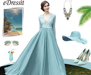 evening dress, green, and Hot image