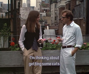 cat, woody allen, and annie hall image