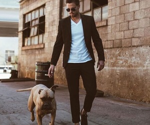 dog, gentleman, and men image
