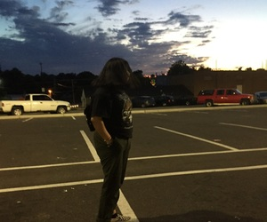 night, parking lot, and sky image
