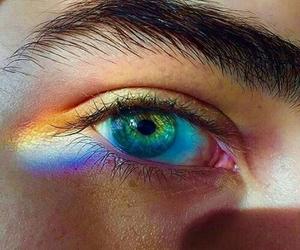 rainbow, eyes, and boy image