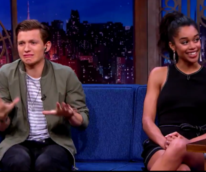 actor, laura harrier, and tom holland image