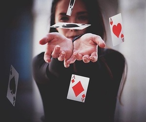 cards, girl, and magic image