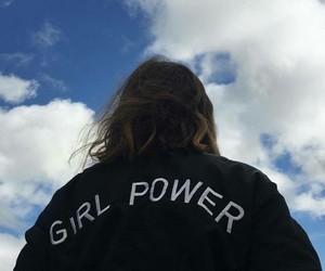 girl, sky, and black image