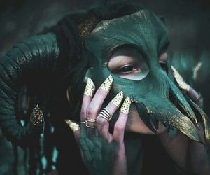 green, fantasy, and mask image