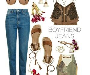 brown, denim, and fashion image