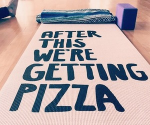 fitness, pizza, and yoga image
