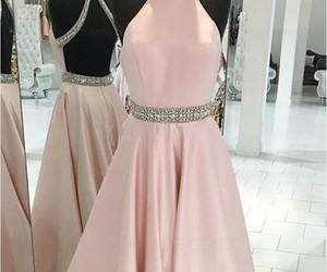 a-line prom dresses, beaded prom dresses, and long pink prom dresses image