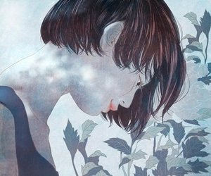 art, short hair, and flower image