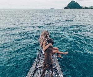 dog, girl, and ocean image