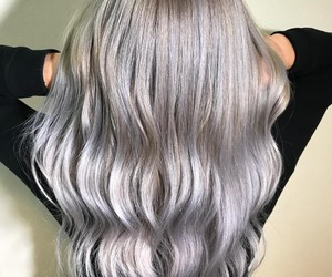 hairdress, ombre, and silver hair image
