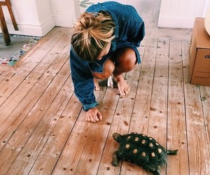 girl, turtle, and animal image