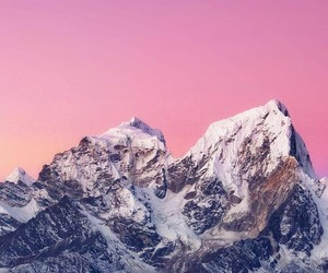 wallpaper, mountain, and pink image