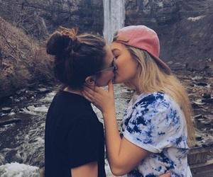 lesbian couple, kiss, and lesbian image