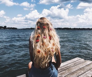 summer, hair, and flowers image