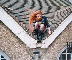 girl, redhead, and roof image
