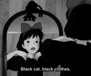 black, cat, and anime image