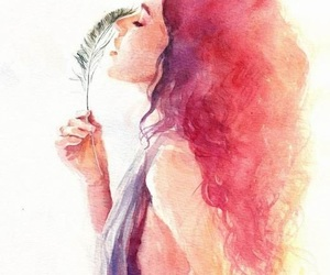 art, feather, and watercolor image