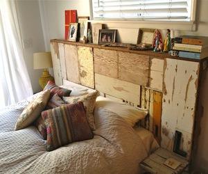 bed, wood, and diy headboard image