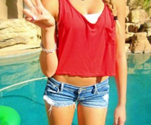 girl, peace, and pool image