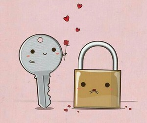 cute, love, and key image