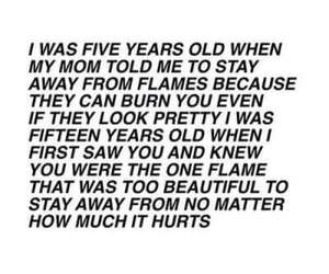 love, flame, and hurt image